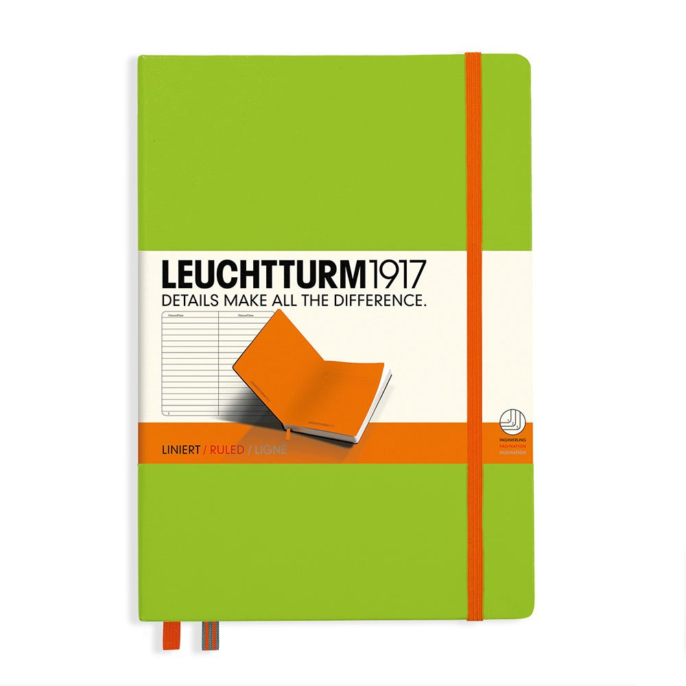 Leuchtturm1917 Medium Hardcover Biocolore Notebook, 5.75 X 8.25 inches, 249 Lined Pages, Lime/Orange (355546)