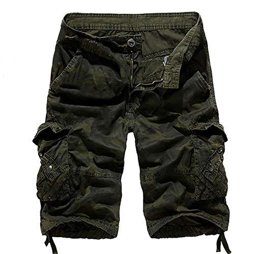 Sunyastor Camouflage Short Pants for Men,Mens Loose Fit Cargo Shorts Camo Multi Pockets Summer Outdoor Wear Beach Work -