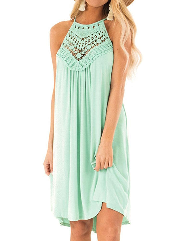 efd9ee73f Light Green Phoenix_us WLLW Halter Sleeveless Front Hollow Out Crochet Lace  Pleated Dress Women npkrtj3336-Dresses