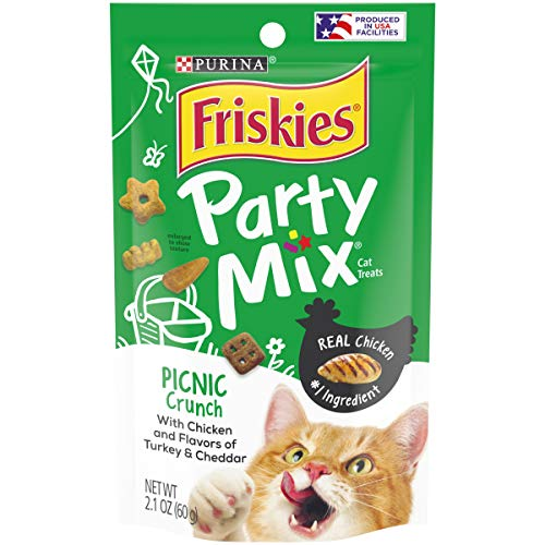 Friskies Party Mix Cat Treats,  Picnic Crunch, Chicken, Turkey & Cheddar Flavors, 2.1-Ounce Pouch, Pack of 10