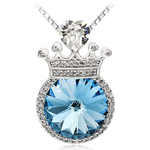 JOLICE Pendant Necklace Swarovski Rounded Crystal White Heart Crystal Crown 18 (Sapphire)