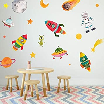 Space Scene Wall Decal Set Planets and Space Wall Sticker Set Astronaut Space Wall Decals Outer Space Wall Decals