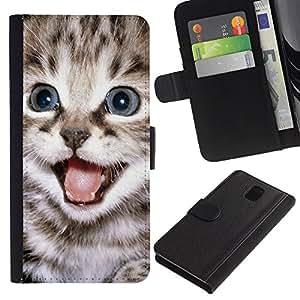 LASTONE PHONE CASE / Lujo Billetera de Cuero Caso del tirón Titular de la tarjeta Flip Carcasa Funda para Samsung Galaxy Note 3 III N9000 N9002 N9005 / Tiny Small Kitten Fur Pet Maine Coon