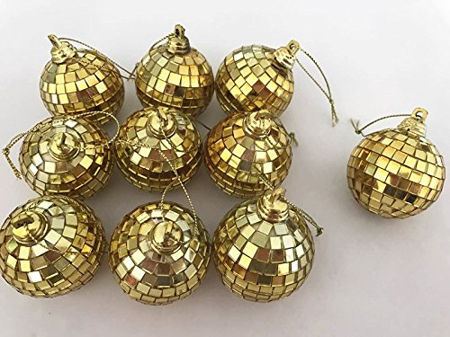 18 Piece 2 Inch Disco Ball Mirror Party Christmas Xmas Tree Ornament Decoration,Gold by LYW