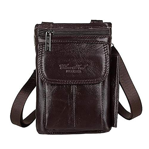 - 2019 New Fashion Genuine Real Leather Men Shoulder Bag Travel Messenger Small Bags Male Hip Belt Cell Phone Case Purse Hook Fanny Waist Pack (Brown color)