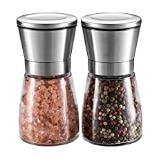 Salt and Pepper Grinder Set - UTRO Brushed Stainless Steel Pepper Mill and Salt Mill with Adjustable Coarseness