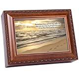 Cottage Garden Footprints In The Sand Woodgrain Inspirational Traditional Music Box Plays Friend in Jesus