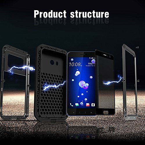 Feitenn HTC U11 Case, Hybrid Armor Alloy Aluminum Metal Bumper Case Gorilla Glass Soft Rubber Military Heavy Duty Shockproof Hard Water resistant Case For HTC U11 (Black)