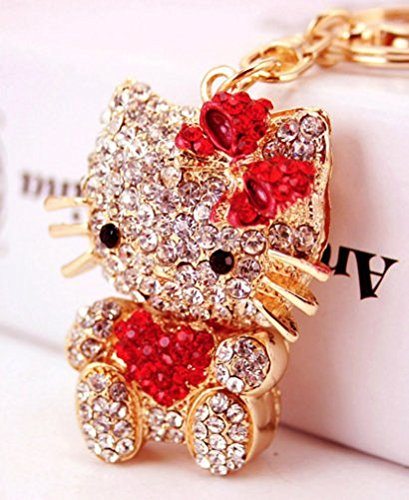 (Beautiful 3D Luxury RED Hello Kitty Heart Figure New Fashion Rhinestone Crystal Keychain Purse Clipper Chain Gift)