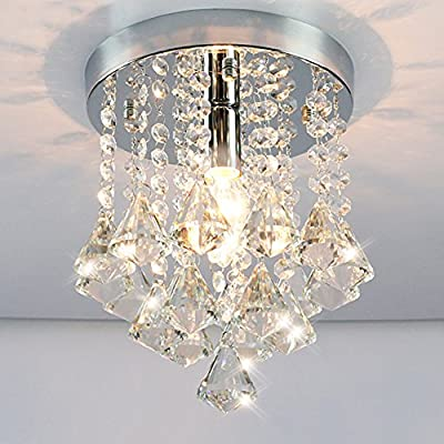 Hsyile KU300129 Modern Chandelier Crystal Round Close To Ceiling Light Fixtures Chrome Finish, 1 Light