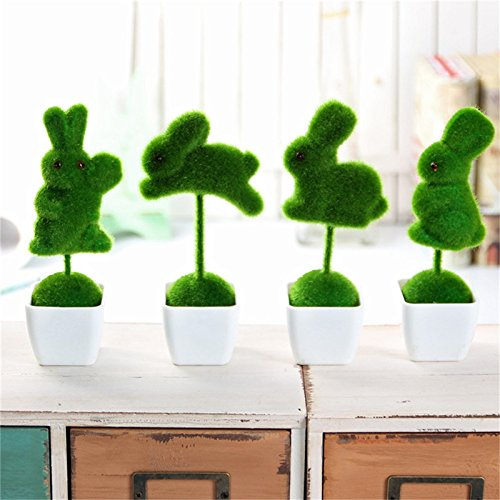 Artificial Plant Rabbit Letters Decoration Set Table Topiary with White Pots for Home Decor,Set of 4