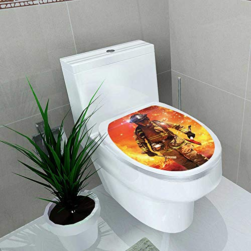 (Auraise-home Decoration Bathroom Toilet Cover Sticker Firefighter searches for Possible Survivors with Tools Tactical Lighting and Thermal Imaging Camera for Restroom Wall Decals W8 x L11)
