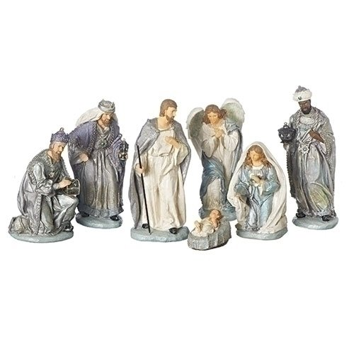 "Roman Inc 12"" Nativity Set Versailles Colorway 7pc Inc Holy Family Jesus Mary Joseph and Wise Men"