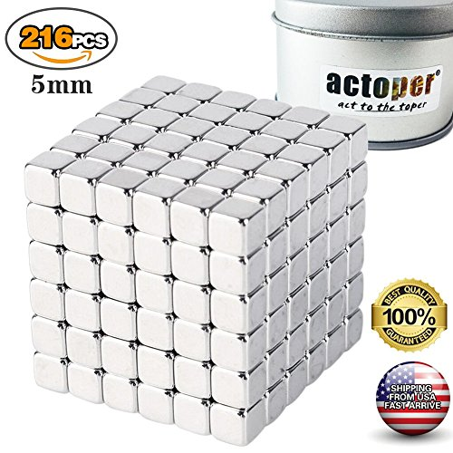 - actoper Magnetic Cube 216pcs 5mm Magnets Blocks Multi-Use Square Cube Magnets Toy Stress Relief Toys for Kids