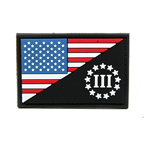 American Flag and Three Percenter PVC Rubber Morale Patch by NEO Tactical Gear - 3 Percent Morale Patch - US Flag Patch - Military Morale Patch Velcro Backed