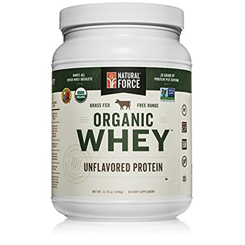 Natural Force® Undenatured Organic Whey Protein Powder *UNFLAVORED* Grass Fed Whey from California Farms – Raw Organic Whey, Paleo, Gluten Free, Natural Whey Protein, 13.76 oz. Bulk by Natural Force
