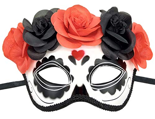 Womens Day of The Dead Masquerade Mask Venetian Party Mask Halloween Costumes Mardi Gras Mask (Love Heart) -