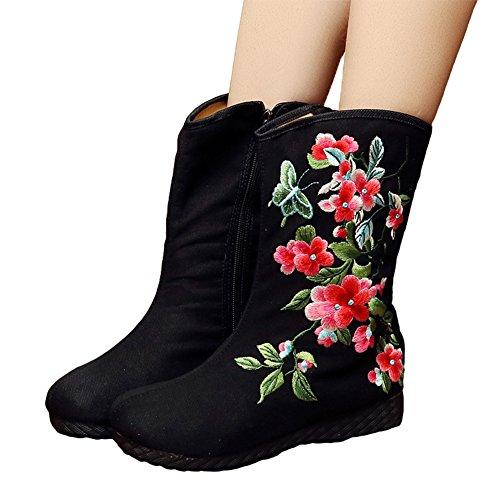 AvaCostume Womens Cherry Blossom Embroidery Flats Rubber Sole B01MDKFAM8 Boots B01MDKFAM8 Sole Shoes 74f9d7