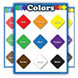 Colors Learning Chart Laminated Poster Teachers and Educators Blue Border Portrait no Pictures