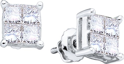 1 Total Carat Weight PRINCESS DIAMOND HIGHEND LADIES INVISIBLE EARRINGS by Jawa Fashion