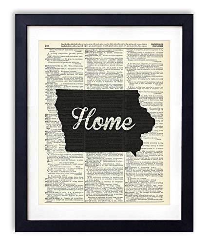 Iowa Home Script Upcycled Vintage Dictionary Art Print 8x10 (Iowa Art)