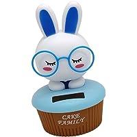 Blesiya Solar Powered Bobbing Rabbit Animal Doll Figure - Fun Solar Science Toy Home Desktop Car Decor Bobbleheads Animal Pet Model Blue
