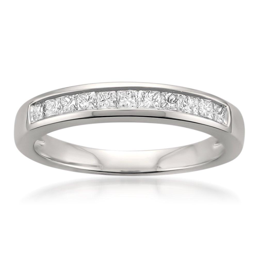 Platinum Princess-cut Diamond Bridal Wedding Band Ring (1/2 cttw, I-J, I1-I2), Size 5