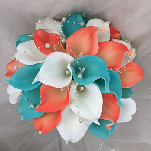 Lily Garden Real Touch Calla Lily Coral and White and Carnation Turquoise Flowers Wedding Bouquet (Wedding Bouquet Lilies) ()
