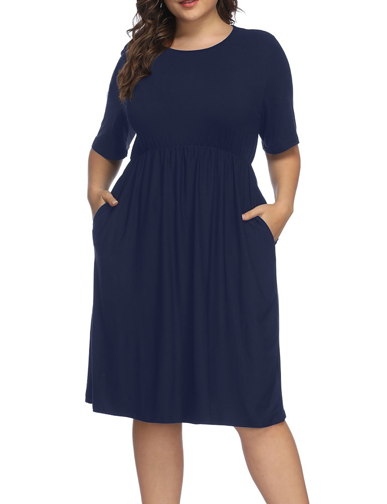 Allegrace Women Plus Size Half Sleeve Round Neck Cocktail Midi Dress Ruffle Party Dresses Dark Blue 3X