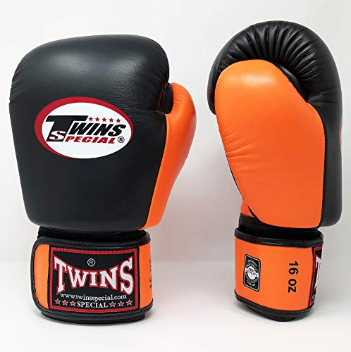 Twins Special Boxing Gloves BGVL3 Leather MMA UFC Muay Thai Kick Boxing K1 Karate Training Punching Gloves (Black/Orange, 14 oz)
