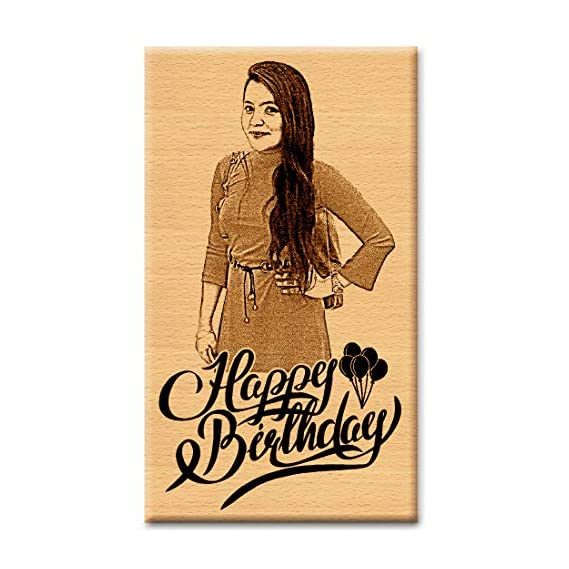Incredible Gifts India Wooden Unique Personalized Happy Birthday Present - Wood Photo Frame (5 X 4 Inch, Beige)