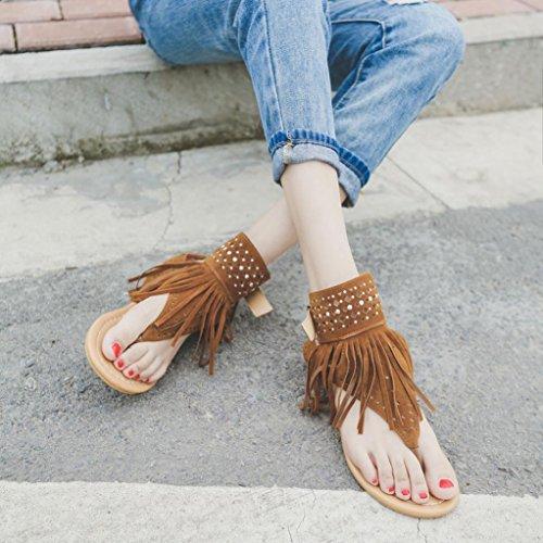 Inkach Girls Bohemia Flip Flops Women Summer Flower Beach Tassel Flat Sandals Brown X3VWN7
