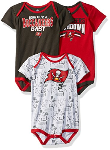 Outerstuff NFL Infant Playmaker 3 Piece Onesie Set-Red-24 Months, Tampa Bay Buccaneers