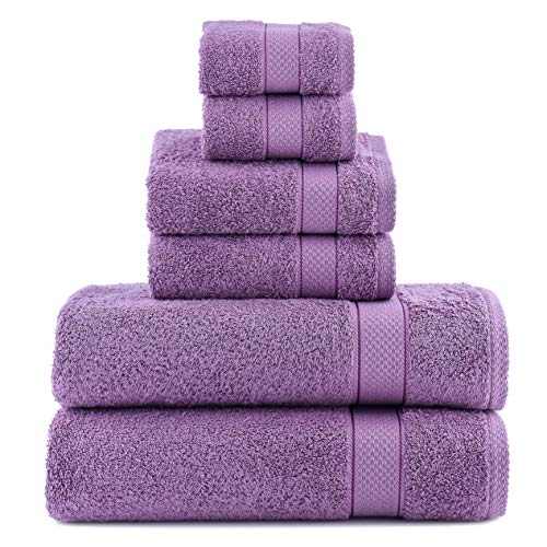 Luxury Turkish Towel Set 6 Piece,100% Cotton, 2 Bath Towels, 2 Hand Towels and 2 Washcloths, Machine Washable, Hotel Quality, Super Soft and Highly Absorbent (Dark Lilac)