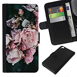 KLONGSHOP // Tirón de la caja Cartera de cuero con ranuras para tarjetas - Jardín Pétalos Rosa Azul - HTC Desire 820 //
