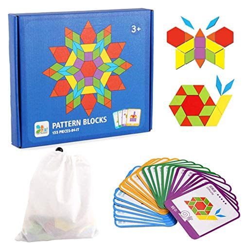 JCREN 155PCS Wooden Pattern Blocks Set Geometric Shape Puzzles Graphical Classic Educational Montessori Tangram Toys Brain Teasers STEM Gift with 24 Pcs Design Cards for Kids Toddler