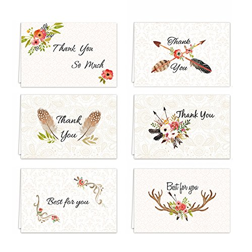 ines Day Thank You Birthday Card Handmade Happy New Year Card Pack Set of 36 Blank Inside, 6 Designs Business gifts Note Cards Bulk with 36 Matching Envelope( 6x4 inches) (Blank Business Card Templates)