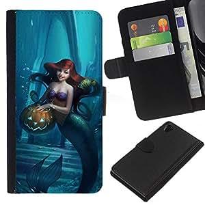 For Sony Xperia Z2 D6502 Case , Halloween Blue Kids Children - la tarjeta de Crédito Slots PU Funda de cuero Monedero caso cubierta de piel