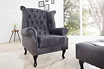 DuNord Design Chesterfield Sillón Gris Antiguo Look ...