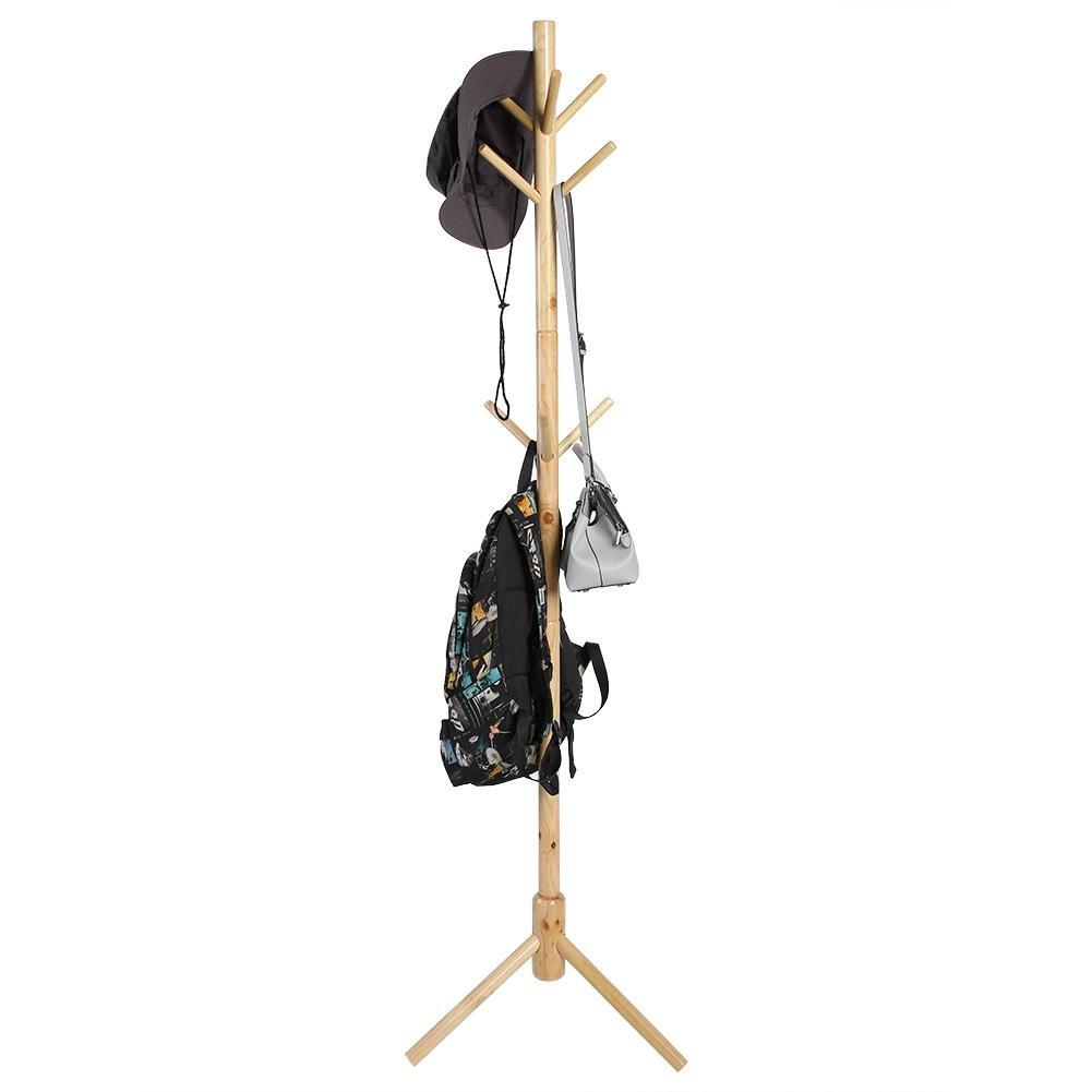 Blanco EBTOOLS Perchero de Madera Maciza de 9 Ganchos Estilo /árbol Colgador de Sombreros Bolso Percha de Pie Soporte de la Ropa Decoraci/ón del Hogar