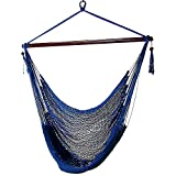 Sunnydaze Hanging Rope Hammock Chair Swing, Extra Large Caribbean, Blue - For Indoor or Outdoor Patio, Yard, Porch, and Bedroom