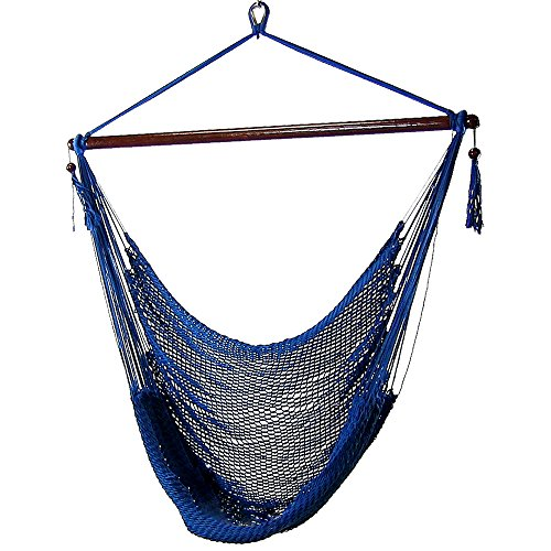 Blue Swing Porch (Sunnydaze Hanging Rope Hammock Chair Swing, Extra Large Caribbean, Blue - For Indoor or Outdoor Patio, Yard, Porch, and Bedroom)