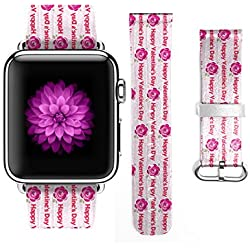 Apple Watch Band 38mm For Girls Genuine Leather Strap Wrist Band Replacement for Apple Watch Rose and Happy Valentine's Day