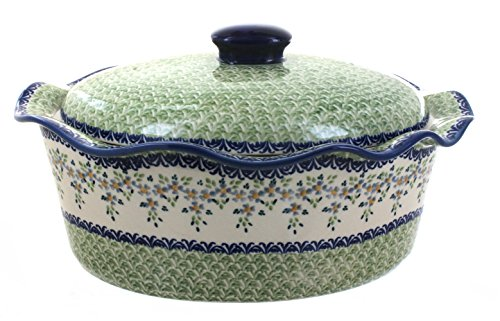 Polish Pottery Summer Vine Large Oval Baker with Lid by Manufaktura