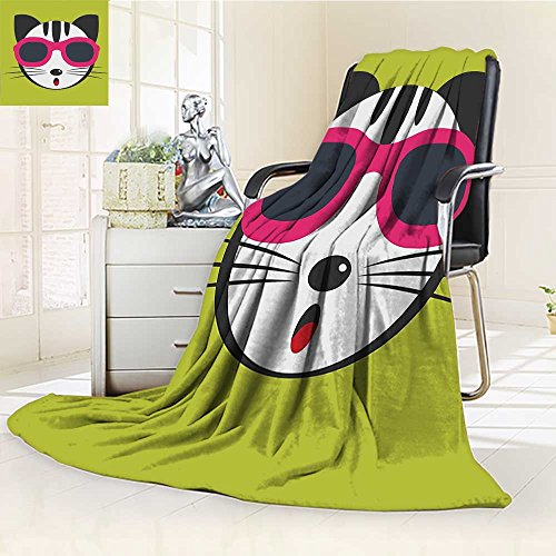 Lightweight Blanket Wearing Pink Sun Glasses Hipster Cat Fun Pets Art Print Digital Printing Blanket