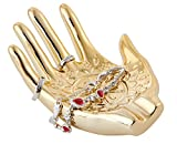 Gold Plated Ceramic Embossed Hamsa Hand for Ring and Jewelry Holder. Size 148 x 110 x 60mm/5.83 x 4.33 x 2.36in