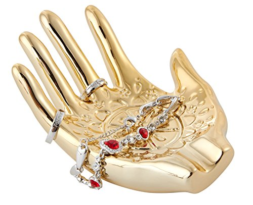 Jojuno Gold Plated Ceramic Embossed Hamsa Hand for Ring and Jewelry Holder. Size 148 x 110 x 60mm/5.83 x 4.33 x 2.36in