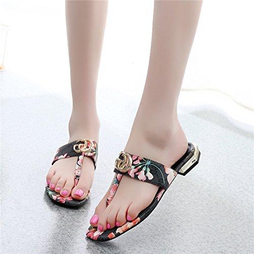 scarpe black piatto collage primavera poi donne le tendenze GTVERNH spiaggia i l'estate pantofole a sandali la fibbia le estate scarpe e moda fondo trentotto di metallo HqzwA04