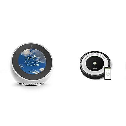Echo Spot blanco + iRobot Roomba 691- Robot aspirador para suelos duros y alfombras,