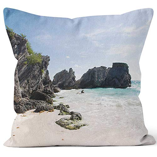 Nine City Beach on Bermuda's North Shore Trail Home Decorative Throw Pillow Cover,HD Printing Square Pillow case,16